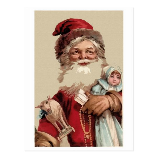 Painting vintage Santaclaus and toys Postcard