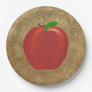 Painting Whole Red Apple Gold Ripple Paper Plates