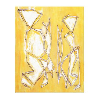 Painting Yellow Abstract Couple in Art  MC Belkadi Gallery Wrap Canvas