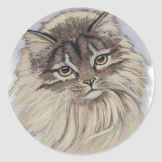 paintings of cats round sticker