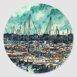 paintings of sailboats sailor sailing art classic round sticker