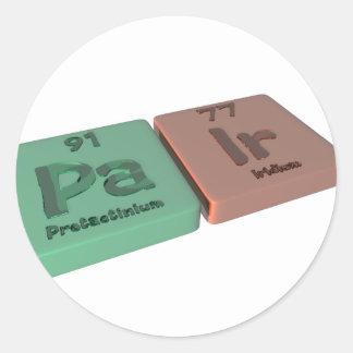 Pair as Pa Protactinium and Ir Iridium Round Sticker