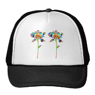 Pair Beautiful FLOWERS Cap