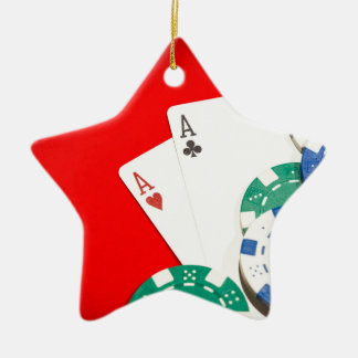 Pair of aces and chips ceramic star decoration