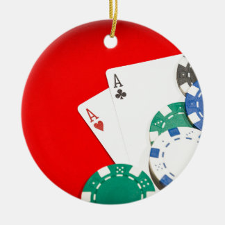 Pair of aces and chips round ceramic ornament