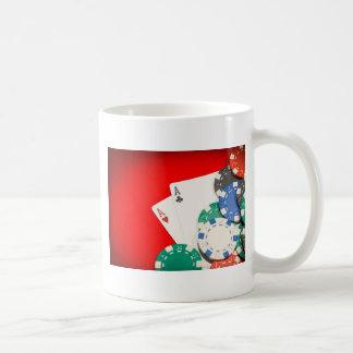 Pair of aces and chips basic white mug