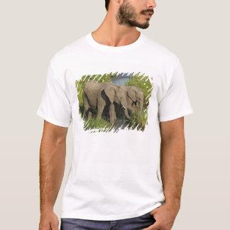 Pair of African Elephants feeding, Masai Mara, T-Shirt