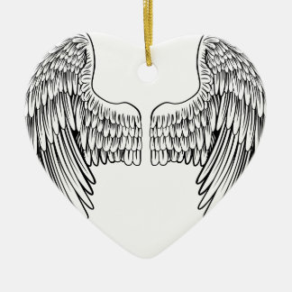 Pair of Angel or Eagle Wings Ceramic Heart Decoration