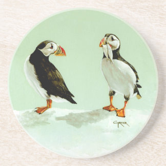 Pair of Antartic Puffin Birds Beverage Coasters