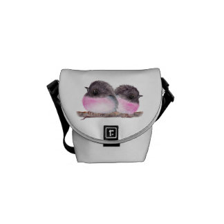Pair of baby birds pink robins watercolor painting messenger bags