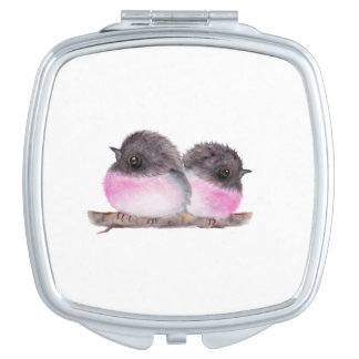 Pair of baby birds pink robins watercolor painting travel mirror