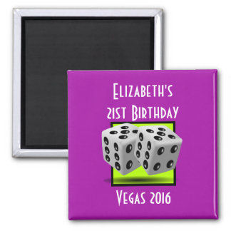 Pair of Black and White Dice on Purple Square Magnet
