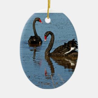 Pair of Black Swans Christmas Ornament