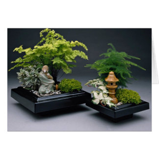 Pair of bonsai trees with ornamental figures greeting cards