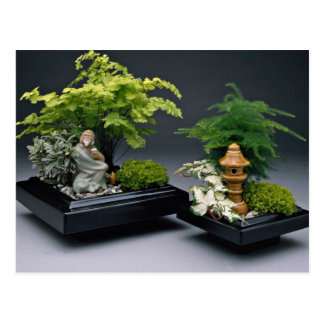 Pair of bonsai trees with ornamental figures postcard