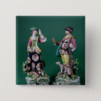 Pair of Bow figures of a Sportsman 15 Cm Square Badge