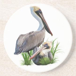Pair of Brown Pelicans, Customizable Coaster