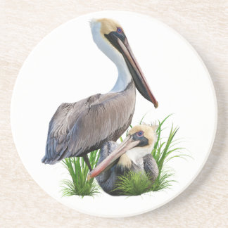 Pair of Brown Pelicans, Customizable Drink Coasters