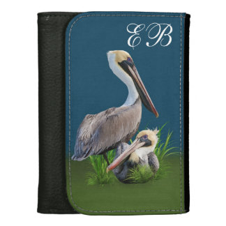 Pair of Brown Pelicans Customizable Text Wallets For Women