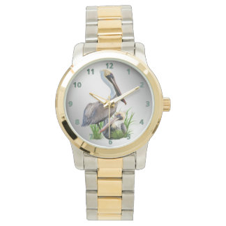 Pair of Brown Pelicans, Customizable Wrist Watches
