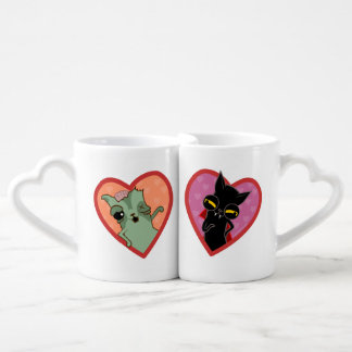 Pair of cat cups zombie and Drácula
