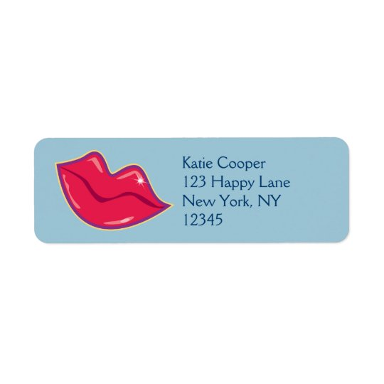 Pair of Cherry Red Lips Return Address Label
