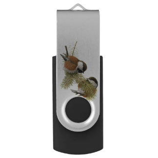 Pair of Chestnut-backed Chickadee on Pine Tree Swivel USB 2.0 Flash Drive