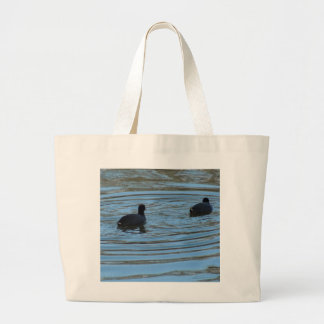 Pair of Coots Swimming on Lake Tote Bag