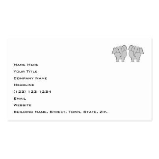 Pair of Cute Elephants. Couple. Pack Of Standard Business Cards