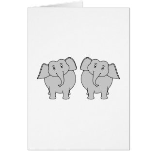 Pair of Cute Elephants. Couple. Note Card