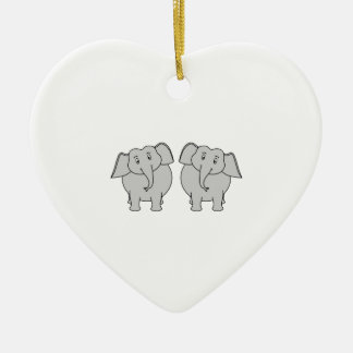 Pair of Cute Elephants. Couple. Christmas Ornament