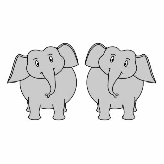 Pair of Cute Elephants. Couple. Acrylic Cut Outs