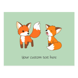 Pair of Cute Little Foxes Postcard