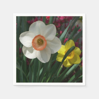 Pair of Daffodils Pink and Yellow Spring Flowers Paper Serviettes