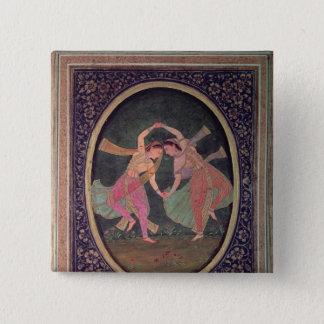 Pair of dancing girls performing a Kathak 15 Cm Square Badge