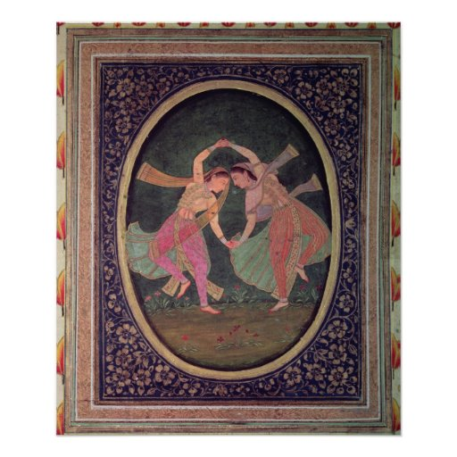 Pair of dancing girls performing a Kathak Poster