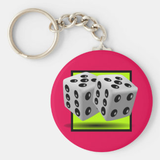 Pair of Dice Basic Round Button Key Ring