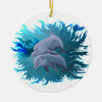 Pair of dolphins christmas ornament