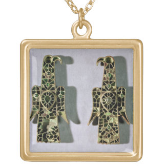 Pair of Eagle-Shaped Brooches (metal and enamel) Gold Plated Necklace