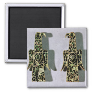 Pair of Eagle-Shaped Brooches (metal and enamel) Square Magnet
