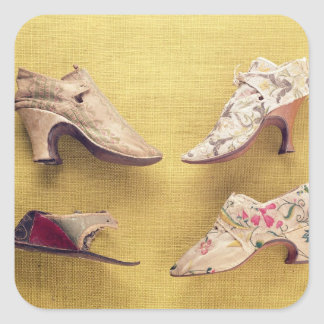 Pair of embroidered shoes, c.1714 square sticker