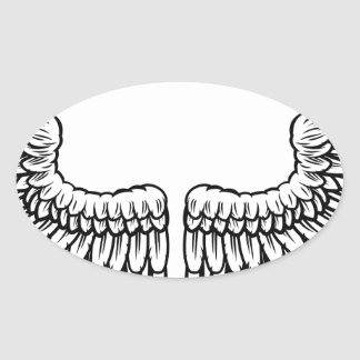 Pair of Etched Wings Oval Sticker