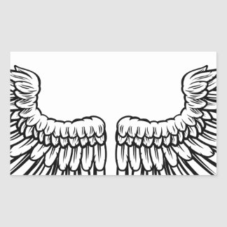 Pair of Etched Wings Rectangular Sticker