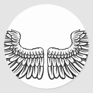 Pair of Etched Wings Round Sticker