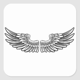 Pair of Etched Wings Square Sticker
