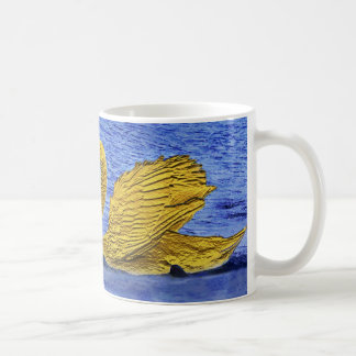 pair of golden swans coffee mugs