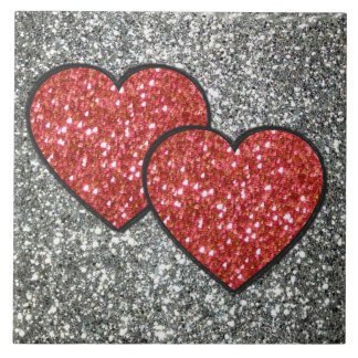 Pair of Hearts in Red Glitter Tile