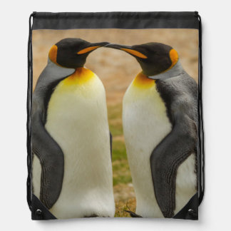 Pair of King Penguins, Falklands Drawstring Bag
