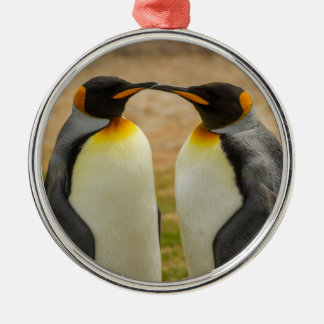 Pair of King Penguins, Falklands Silver-Colored Round Decoration