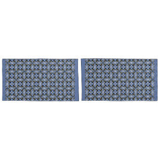 Pair of King Size PillowCases blue Pattern